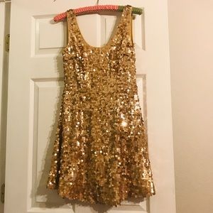 Arden B gold sequin party NYE holiday dress M